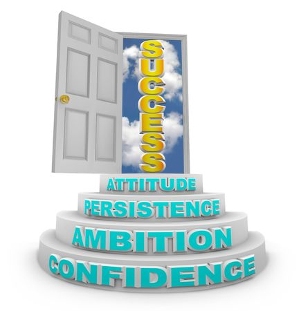 persistence: A series of steps with words - Confidence, Ambition, Persistence and Attitude - lead to an open door with the word Success showing through it