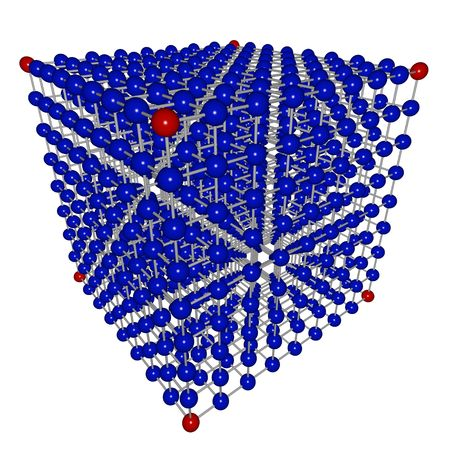 A cube matrix of connected blue and red spheres, symbolizing networking and connections