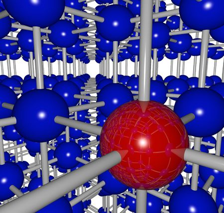 A complex grid structure with one red ball and many connections to its neighbors