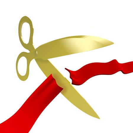 A pair of golden scissors cuts a ceremonial red ribbon for a grand opening photo