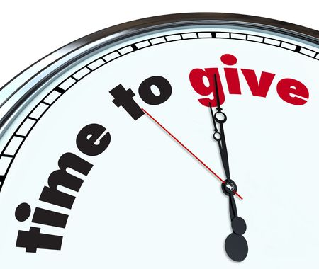 fundraiser: An ornate clock with the words Time to Give on its face Stock Photo