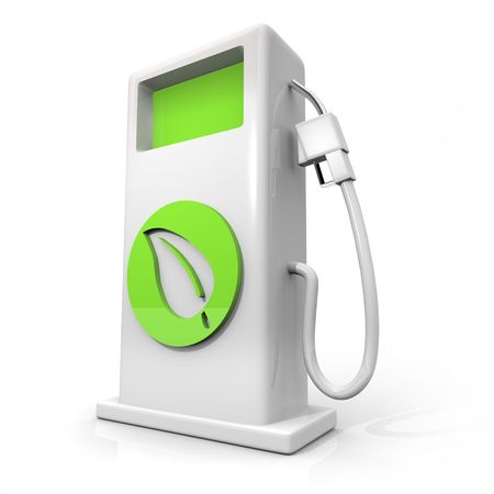 A white pump of alternative fuel with a green leaf symbol on it symbolizing earth friendliness Standard-Bild