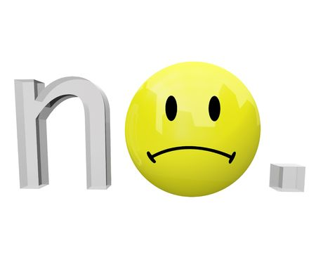 A yellow frown face emoticon replaces the o in the word no