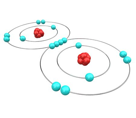 Atomic diagram of Oxygen,  or O2, showing the protons, neutrons and electrons Stock Photo - 5785439