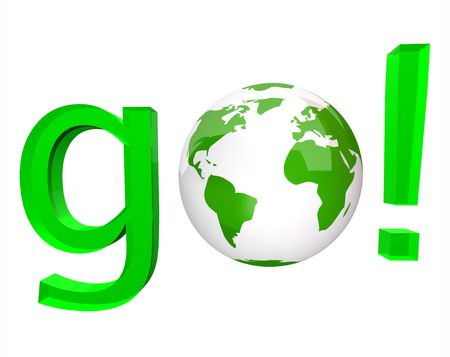 to go: A white globe replaces the O in the green word go