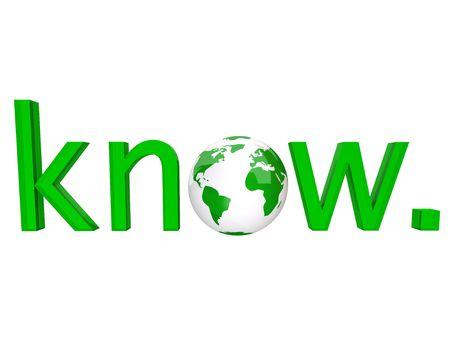 informait: Le mot savoir en lettres vertes et une terre illustr� plan�te pour les o Banque d'images