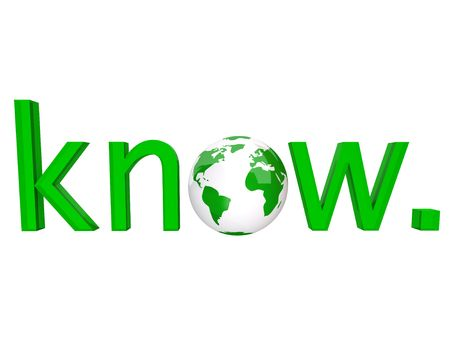 educated: The word know in green letters and an illustrated planet Earth for the o
