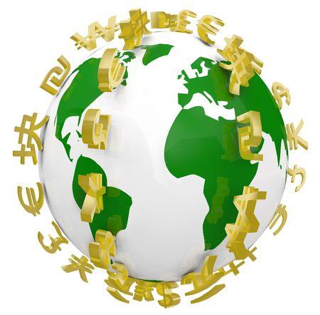 地球という惑星をリンギング グローバル通貨のシリーズ 写真素材