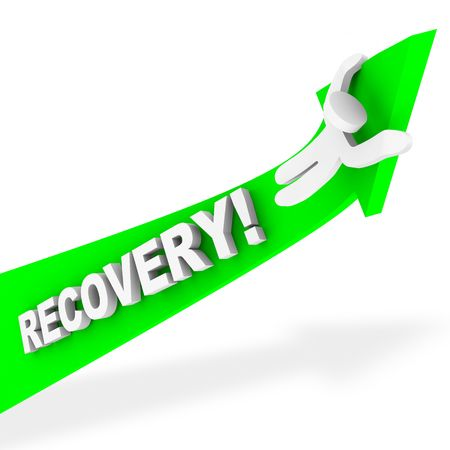 A figure rides a green arrow up symbolizing economic recovery Stock Photo - 5812712