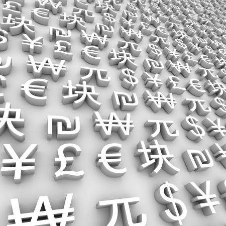 灰色の背景上のグローバル通貨記号のシリーズ