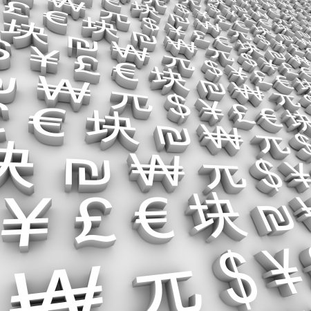 negocios internacionales: Una serie de s�mbolos de moneda global sobre fondo gris