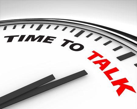 n�gocier: Horloge blanc avec des mots le temps de parler � sa face Banque d'images