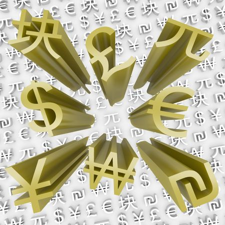 foreign trade: Many gold currency symbols come flying out of money background Stock Photo