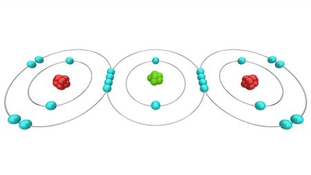 ions: An atomic diagram of carbon dioxide, or CO2, showing its protons, neutrons and electrons including the carbon and oxygen atoms