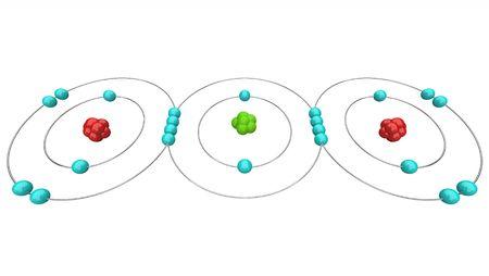 dioxido de carbono: Un diagrama at�mico de di�xido de carbono, o CO2, mostrando sus protones, neutrones y electrones, incluyendo los �tomos de carbono y ox�geno  Foto de archivo