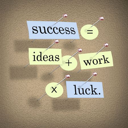 equals: Pieces of paper each containing a word pinned to a cork board reading Success Equals Ideas Plus Work Times Luck