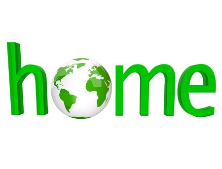 environmentalism: The word home in green letters with the planet Earth in place of the o