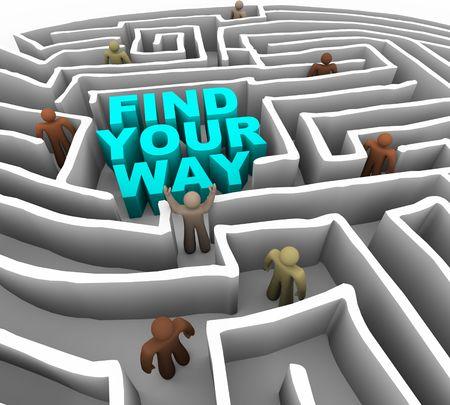 viele leute: Viele Menschen versuchen, ihren Weg durch eine tiefe Labyrinth zu finden  Lizenzfreie Bilder