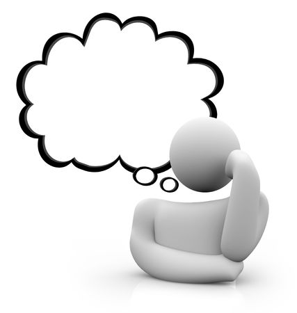 Un personnage posé la tête posée, perdu dans ses pensées, un nuage de pensée s'élevant au-dessus de sa tête Banque d'images