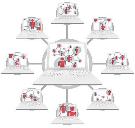 Afbeelding van verbonden lap top computers via sociale net werken verbonden