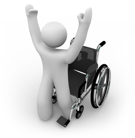 wheelchair: A cured person rises from a wheelchair