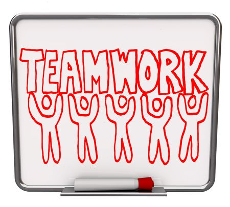 A white dry erase board with red marker, with the word Teamwork drawn with several illustrated people photo
