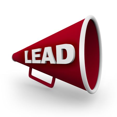 A red bullhorn with the word Lead on its side Stock Photo - 5952962