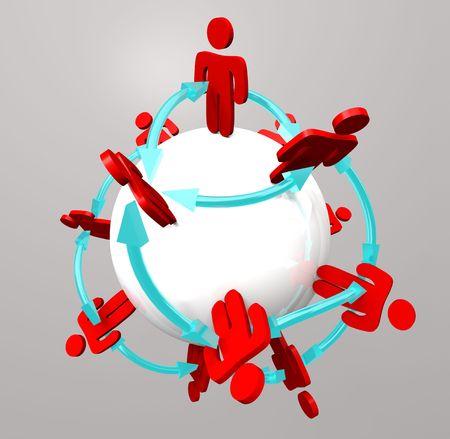 conexiones: Muchas personas, conectado en una red social alrededor de una esfera
