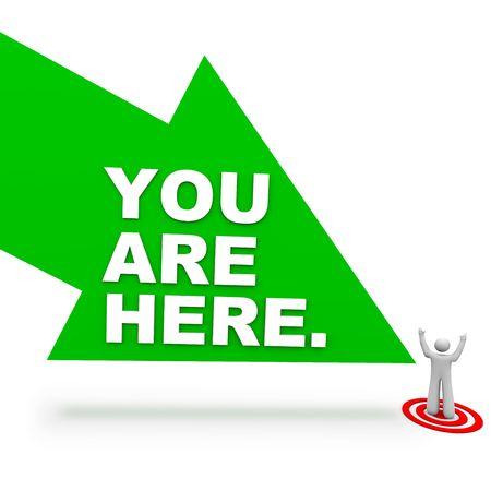 Una flecha verde grande con palabras You Are Here apuntando a una persona de pie en un lugar de destino