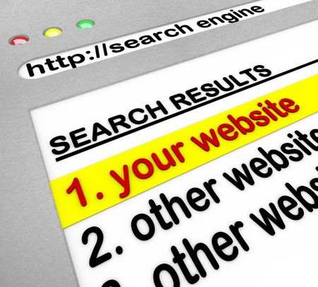 website window: A search engine browser window shows your website as the top result