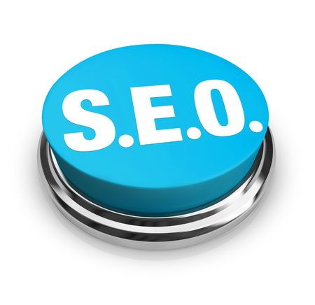 A blue button with the acronym SEO on it Stock Photo - 5974140