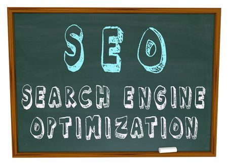 The words Search Engine Optimization written on a chalkboard Stock Photo - 5974142