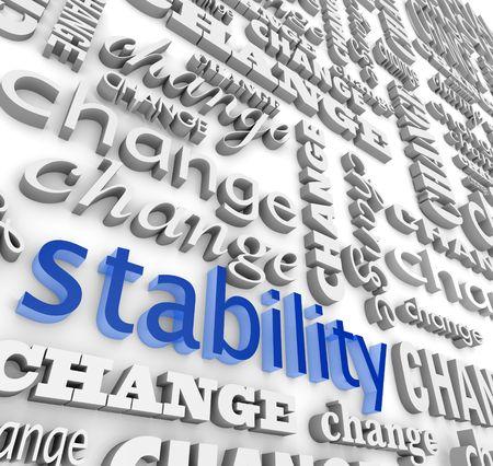 Het woord stabiliteit omringd door vele versies van het woord wijzigen