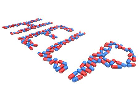 doses: The word Help spelled out in red and blue capsule pills