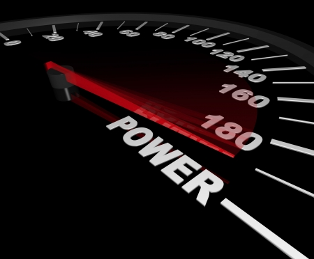 A speedometer with red needle pointing to the word Power photo