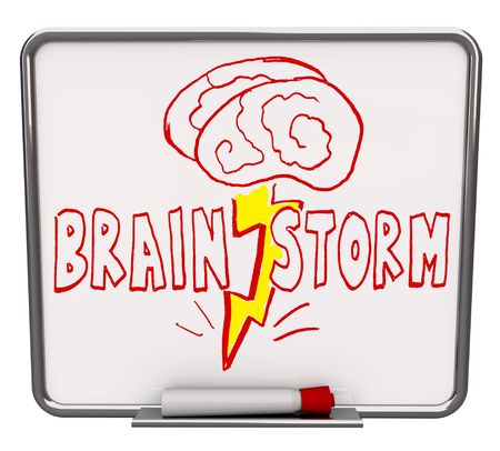 erase: A white dry erase board with red marker, with the word Brainstorm drawn with a brain and lightning bolt