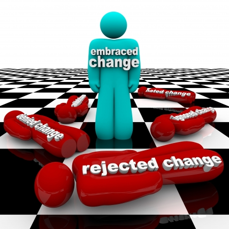 rejections: One person who has embraced change stands triumphant, while others who have rejected it have fallen around him.