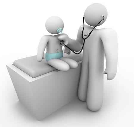 paediatrician: Un m�dico pediatra examina a un paciente de beb�