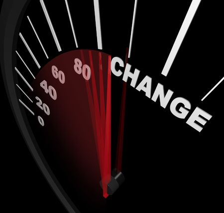 progression: A speedometer with red needle pointing to the word Change Stock Photo