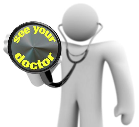 A physician holds a stethoscope showing the words - See Your Doctor Stock Photo