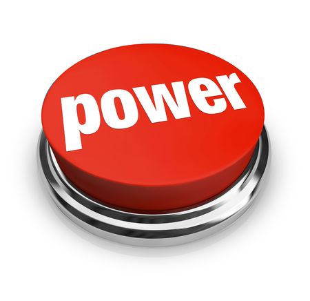 A red button with the word Power on it