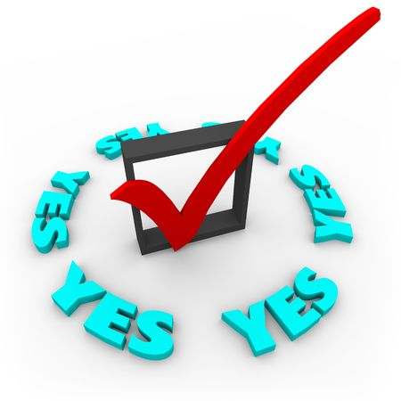 tabulation: A check mark in a box surrounded by the word Yes
