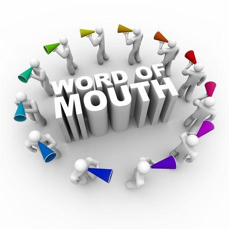 word art: Un anillo de personas llevando bullhorns alrededor de la frase de boca en boca