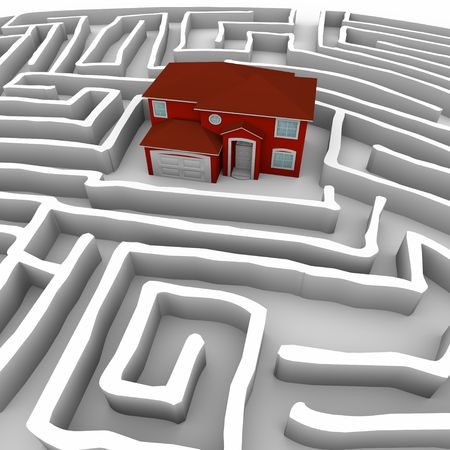 ways: A red maze sits at the center of a complex labyrinth, symbolizing the challenges of home ownership