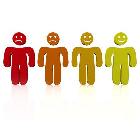 disordine: Quattro persone mostrano una gamma di emozioni da arrabbiato di felice