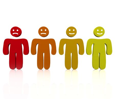 Four people show a range of emotions from angry to happy Stockfoto
