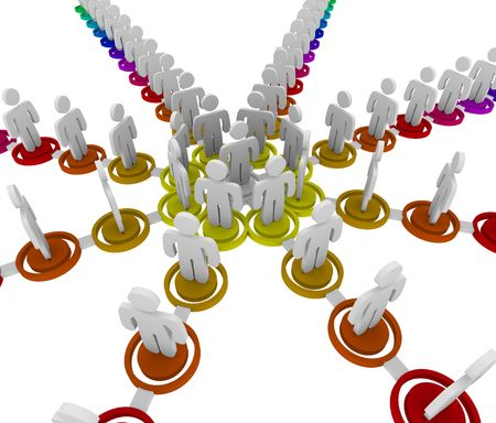 People linked together in a colorful organizational structure photo