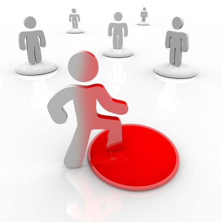 A person takes the first bold step into change, onto a red button which changes his appearance