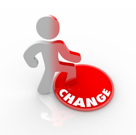 A person stands onto a button marked Change and his color transforms to symbolize his evolution Stock Photo - 6158486