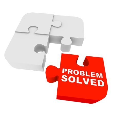 Four puzzle pieces, with one red one and the words Problem Solved
